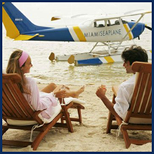 People on the Beach with a Private Plane